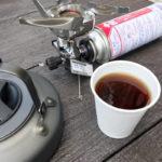イワタニジュニアコンパクトバーナーを使い、山コーヒーを完成させた写真。