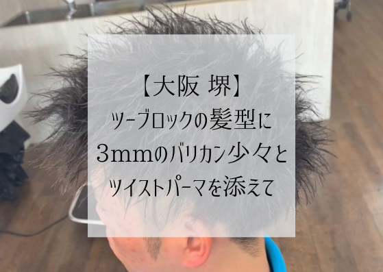【大阪 堺】ツーブロックの髪型に、3mmのバリカン少々とツイストパーマを添えて、というブログのタイトル画像